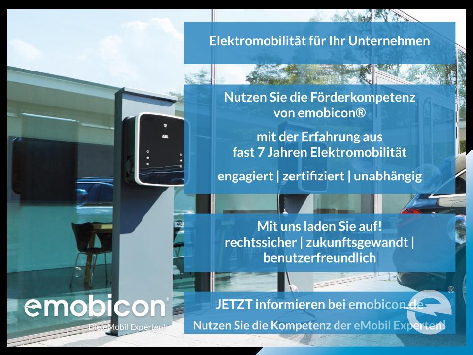 Elektromobilität für Unternehmen von emobicon®