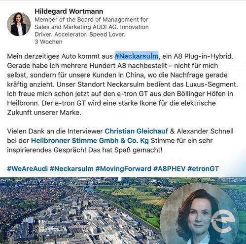 Audi Vertriebschefin zur Zukunft von AUDI