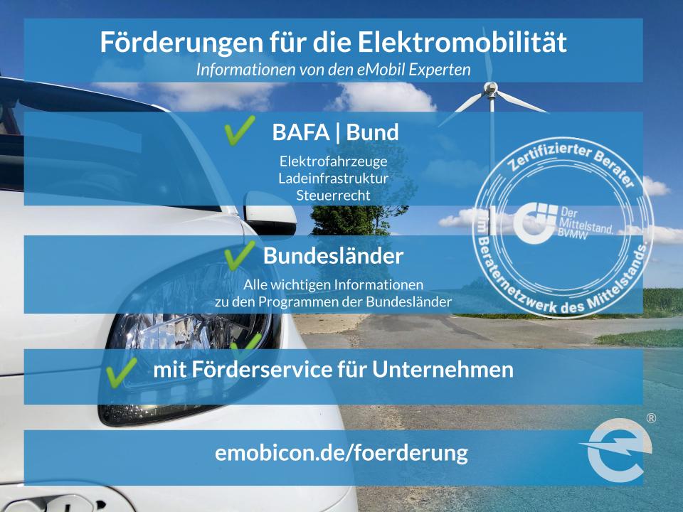 Förderungen für die Elektromobilität von emobicon